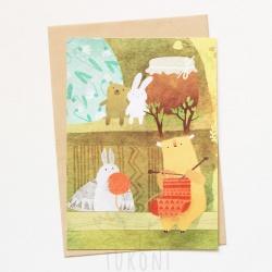 листівка міль і осінь в'яжуть шкарпетки
