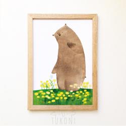 """постер """"Ведмідь і кульбабки"""""""